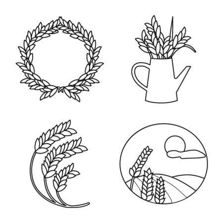 Isolated object of grain and harvest sign. Collection of grain and field stock vector illustration.