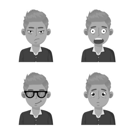 Vector design of face and boy icon. Set of face and expression vector icon for stock.