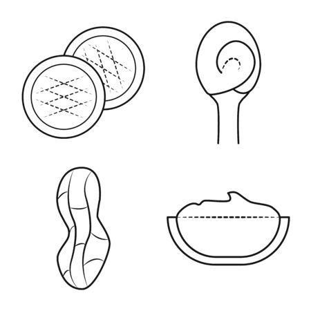 Isolated object of natural and seed icon. Collection of natural and nutrition stock symbol for web. Ilustração
