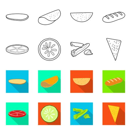 Vector illustration of cooking and dinner icon. Collection of cooking and fast stock symbol for web. Ilustracja