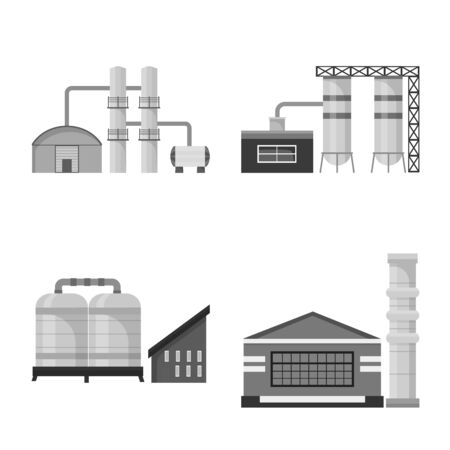 Isolated object of factory and industry sign. Collection of factory and architecture vector icon for stock.