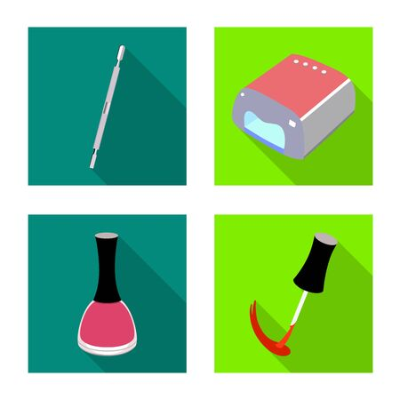 Vector design of manicure and makeup sign. Set of manicure and cosmetics stock vector illustration.