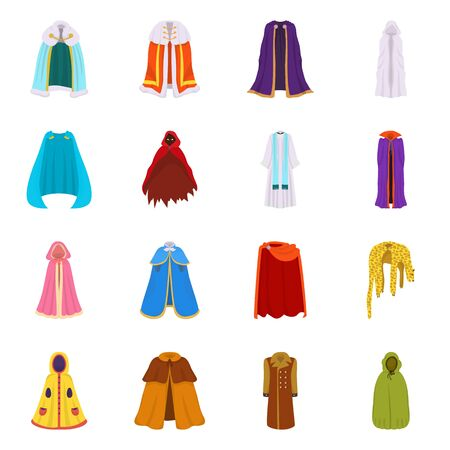 Vector illustration of cloak and clothes sign. Collection of cloak and garment stock vector illustration.