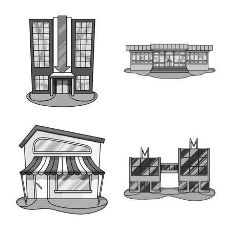 Vector illustration of supermarket and building icon. Collection of supermarket and business vector icon for stock. Ilustracja