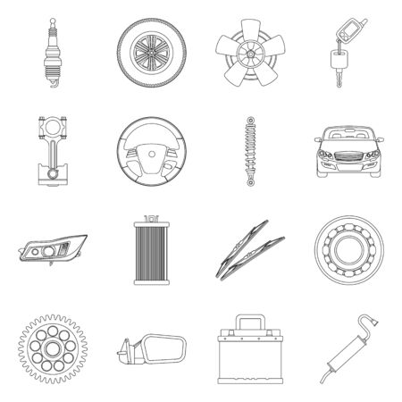 Vector design of auto and part  . Set of auto and car stock symbol for web.
