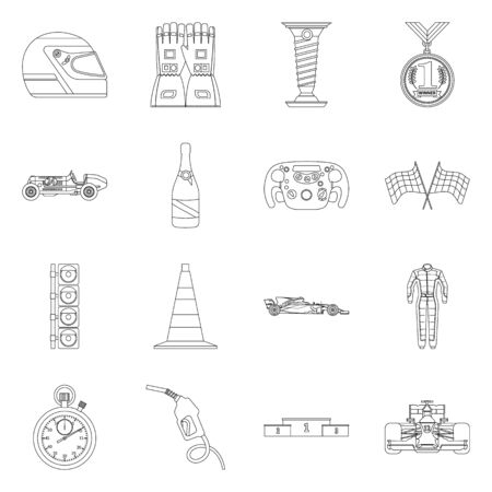 Vector design of car and rally. Collection of car and race stock vector illustration. Vector Illustratie