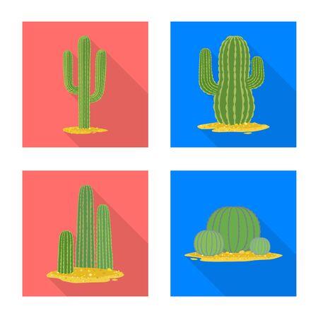 Vector illustration of botanical and oasis . Collection of botanical and vegetative vector icon for stock. Çizim