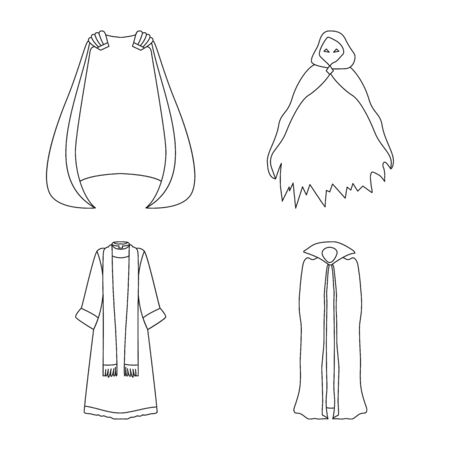 Vector illustration of robe and garment sign. Set of robe and cloth stock vector illustration. 向量圖像