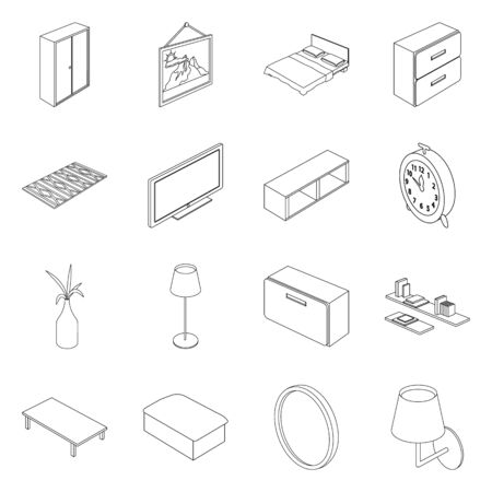 Vector illustration of bedroom and room icon. Set of bedroom and furniture stock vector illustration.