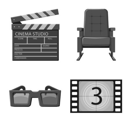 Vector illustration of cinematography and studio . Set of cinematography and filming stock vector illustration.