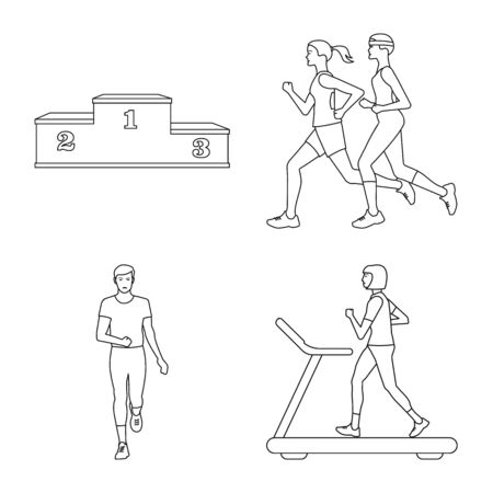 Isolated object of exercise and sprinter symbol. Set of exercise and marathon stock vector illustration.