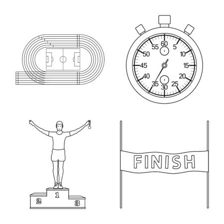 Vector illustration of exercise and sprinter icon. Set of exercise and marathon stock symbol for web.