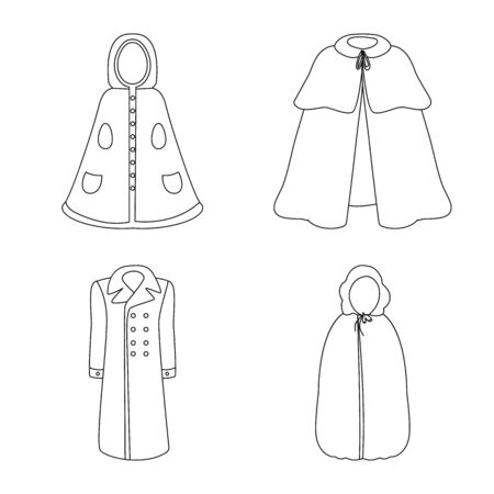Vector illustration of robe and garment sign. Set of robe and cloth stock vector illustration. Illusztráció