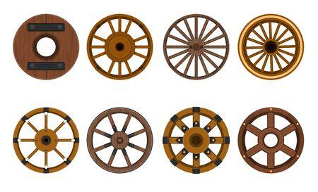 Drewniane koło wektor kreskówka zestaw ikon.Wektor ilustracja koszyk koła. Ikona kreskówka na białym tle cartwheel dla wagonu na białym tle.
