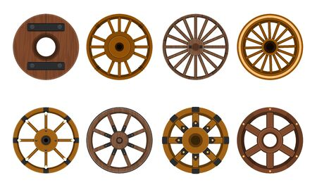 Wooden wheel vector cartoon set icon.Vector illustration cart of wheel. Isolated cartoon icon cartwheel for wagon on white background . Stock Illustratie