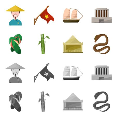 Vector design of vietnam and traditional Collection of vietnam and culture vector icon for stock.
