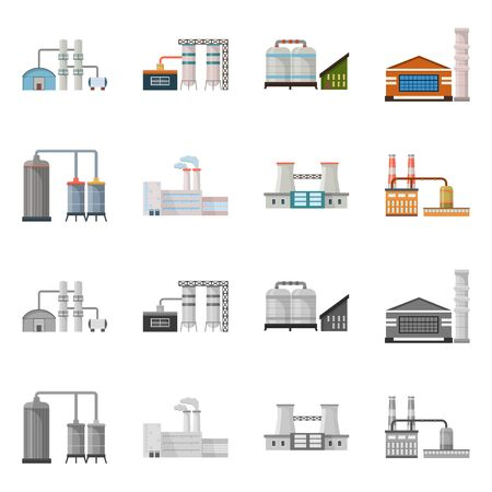 Isolated object of factory and industry sign. Collection of factory and construction vector icon for stock.