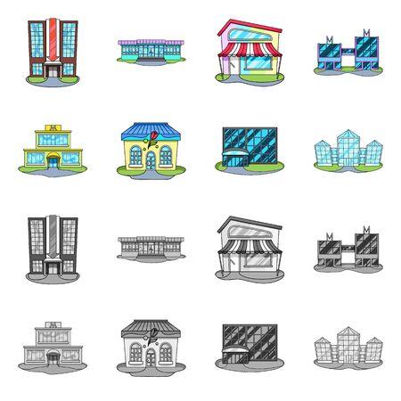 Vector illustration of supermarket and building symbol. Set of supermarket and local stock vector illustration. Ilustracja