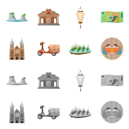 Isolated object of vietnam and traditional . Collection of vietnam and landmark vector icon for stock.