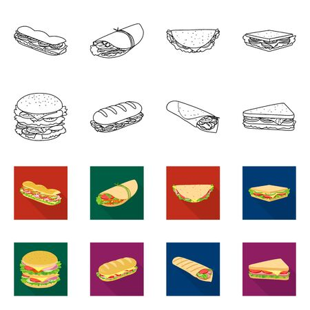 Vector illustration of dinner and cuisine icon. Set of dinner and breakfast vector icon for stock.