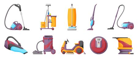 Vacuum cleaner cartoon vector illustration on white background . Set icon vacuum cleaner for cleaning .Cartoon vector icon hoover for cleaning carpet.  イラスト・ベクター素材