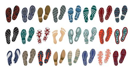 Print of shoe vector cartoon set icon.Vector illustration print of sole shoe on white background . Isolated set icon footprint foot. Illustration