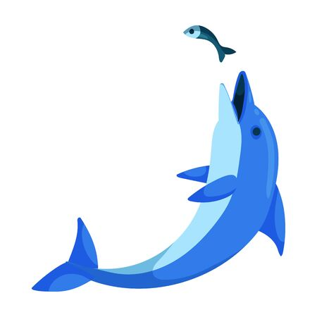 Blue dolphin vector icon.Cartoon vector logo isolated on white background blue dolphin .