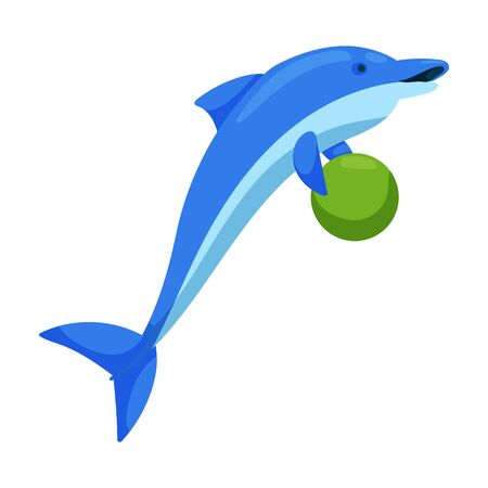 Dolphin with ball vector icon.Cartoon vector icon isolated on white background dolphin with ball .