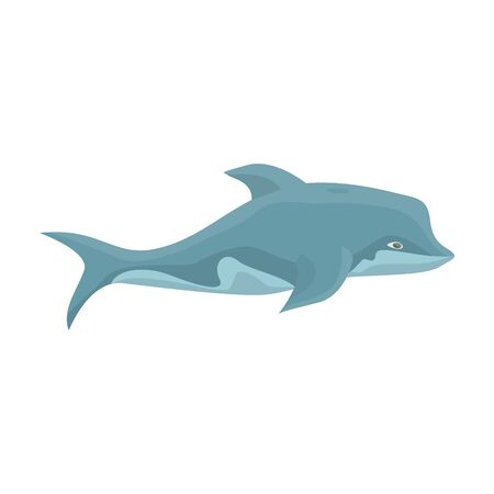 Dolphin vector icon.Cartoon vector icon isolated on white backgroun dolphin.