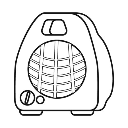 Isolated object of heater and portable symbol. Graphic of heater and room stock vector illustration.