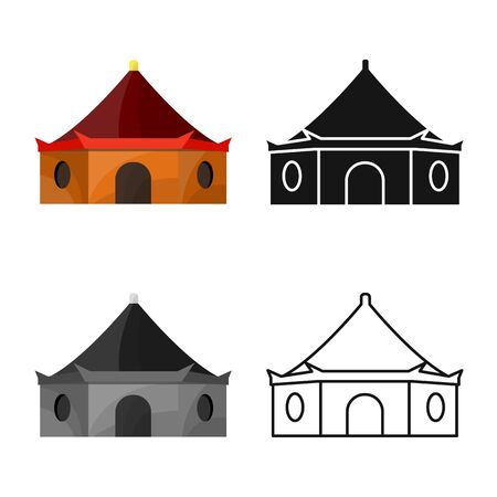 Isolated object of tower and vietnam icon. Set of tower and city vector icon for stock.
