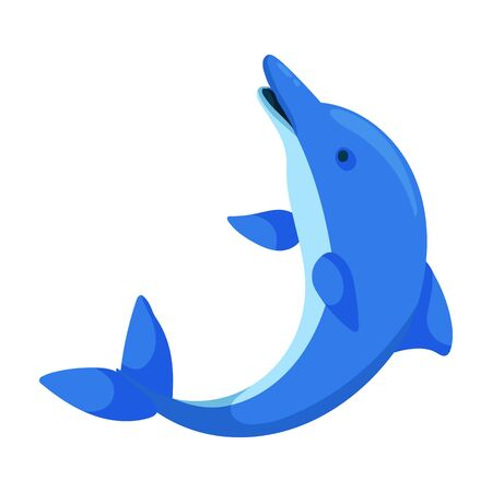 Blue dolphin vector icon.Cartoon vector icon isolated on white background blue dolphin . Illustration