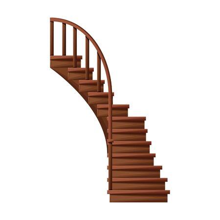 Ikona wektor drewniane schody. Wektor ikona kreskówka na białym tle drewniane schody.