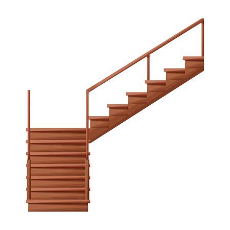Icono de vector de escalera de madera Icono de vector de dibujos animados aislado sobre fondo blanco escalera de madera.