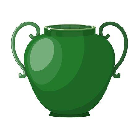 Icona di vettore del vaso di ceramica. Icona di vettore del fumetto isolato su priorità bassa bianca vaso di ceramica. Vettoriali