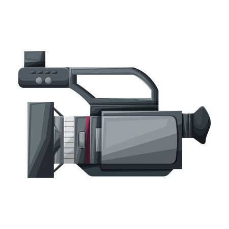 Video camera vector icon.Cartoon vector icon isolated on white background video camera. Çizim
