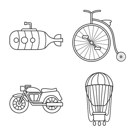 Vector design of retro and trip symbol. Collection of retro and transport stock vector illustration. Illustration
