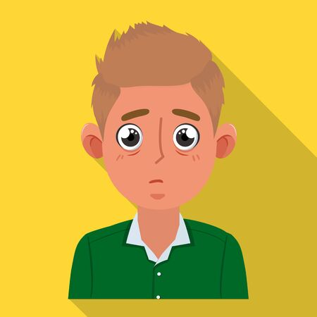 Vector design of guy and surprised sign. Set of guy and emotion stock vector illustration.