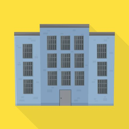Vector illustration of prison and building icon. Graphic of prison and jailhouse stock symbol for web. Illustration