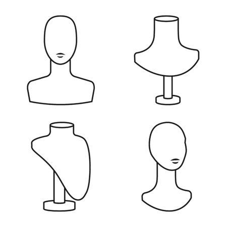 Vector illustration of mannequin and fashion sign. Collection of mannequin and form stock vector illustration. Banque d'images - 133994781