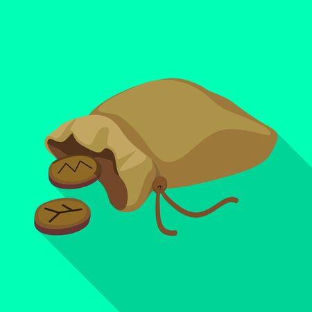 Isolated object of bag and runes icon. Web element of bag and sack vector icon for stock. Ilustracja