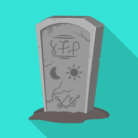 Vector illustration of tombstone and stone symbol. Graphic of tombstone and gravestone vector icon for stock.