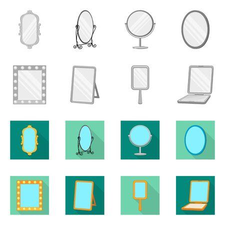 Vector design of reflect and piece symbol. Collection of reflect and furniture stock symbol for web. Vettoriali