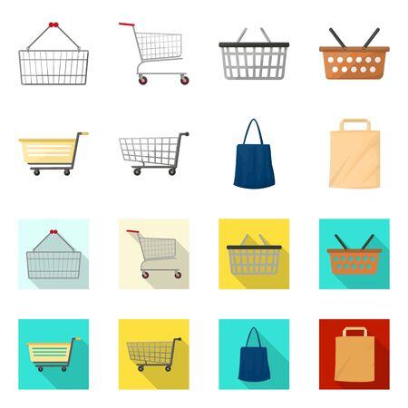 Diseño vectorial del icono de carrito y carrito. Colección de carrito de mano y símbolo de bolsa de mercado para web.