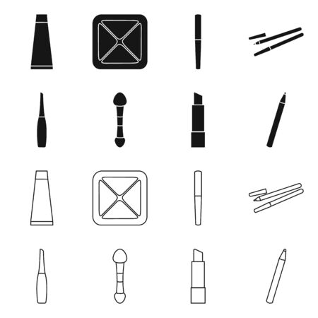 Isolated object of makeup and product sign. Collection of makeup and cosmetology vector icon for stock. Illusztráció
