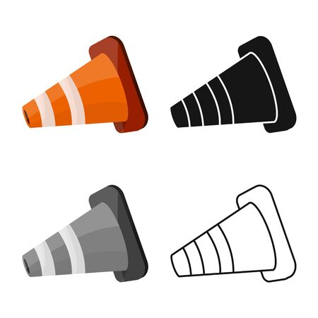 Isolated object of road and cone icon. Graphic of road and lying stock vector illustration. Illustration