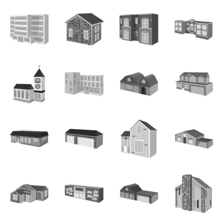 Isolated object of architecture and estate logo. Set of architecture and housing stock vector illustration. Standard-Bild - 133996994