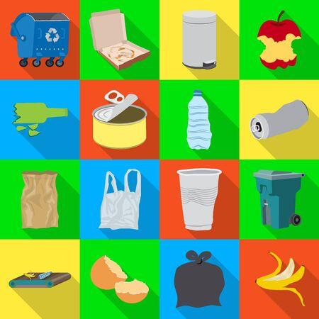 Vector illustration of refuse and junk sign. Collection of refuse and waste vector icon for stock. Foto de archivo - 133997005