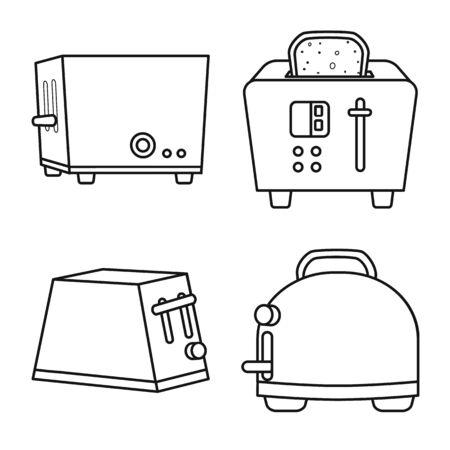Objet isolé du symbole de la machine et des appareils. Collection d'icônes vectorielles de machine et de ménage pour le stock.