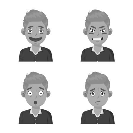 Vector design of face and boy sign. Collection of face and expression stock symbol for web. Illustration